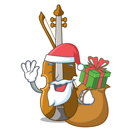 Santa with gift violin isolated with in the mascot vector illustration