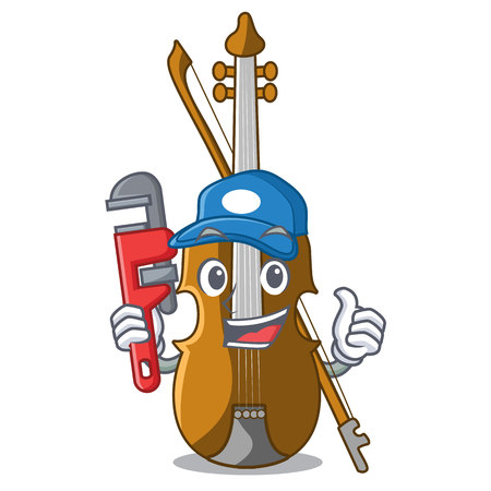 Plumber violin isolated with in the mascot vector illustration