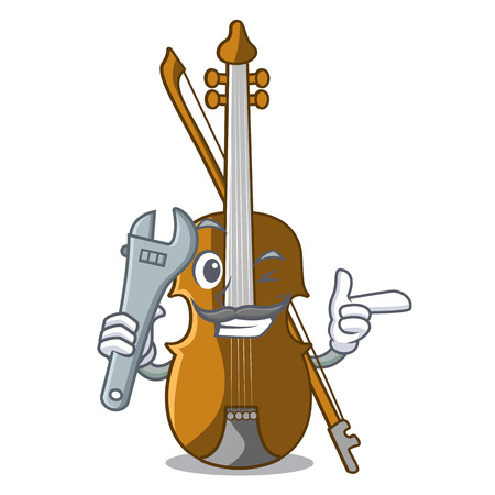 Mechanic violin isolated with in the mascot vector illustration