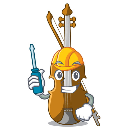 Automotive violin isolated with in the mascot vector illustration