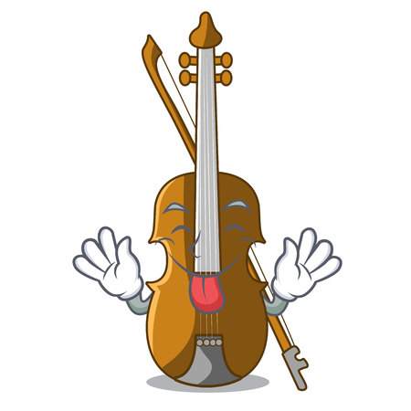 Tongue out violin isolated with in the mascot vector illustration  イラスト・ベクター素材