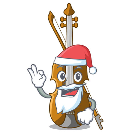 Santa violin isolated with in the mascot vector illustration