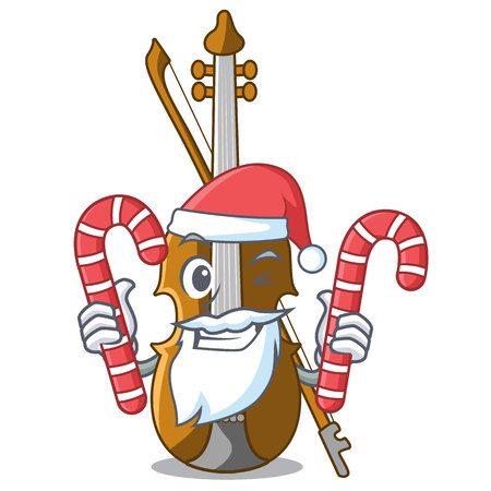 Santa with candy violin isolated with in the mascot vector illustration  イラスト・ベクター素材