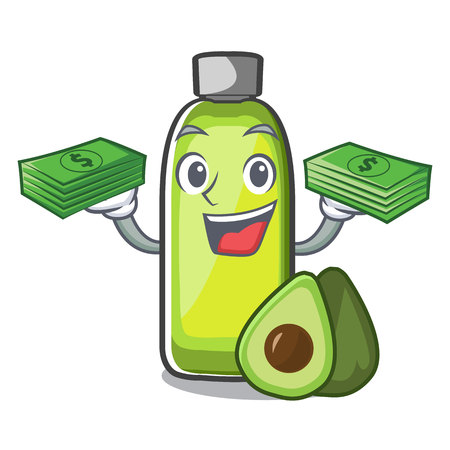 With money bag avocado oil in the bottol cartoons