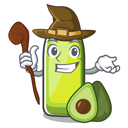 Witch avocado oil in the bottol cartoons Vektorové ilustrace
