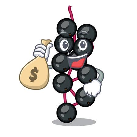 With money bag eldeyberry fruit above wooden table cartoon vector illustration