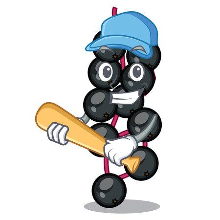 Playing baseball eldeyberry fruit above wooden table cartoon vector illustration Çizim