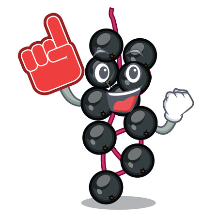 Foam finger elderberry fruit is isolated with characters vector illustration Illustration
