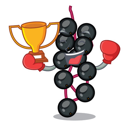 Boxing winner elderberry fruit is isolated with characters vector illustration Illustration