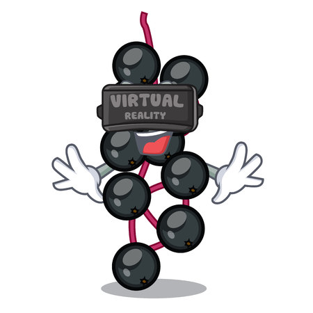 Virtual reality elderberry in the shape of mascot vector illustration
