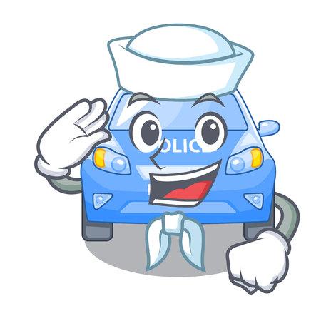 Sailor police car on a cartoon roadside