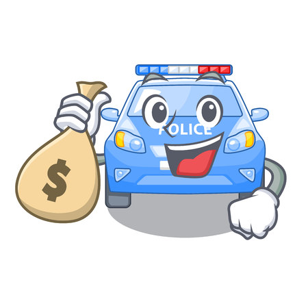 With money bag police car on a cartoon roadside