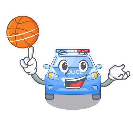 With basketball police car on a cartoon roadside