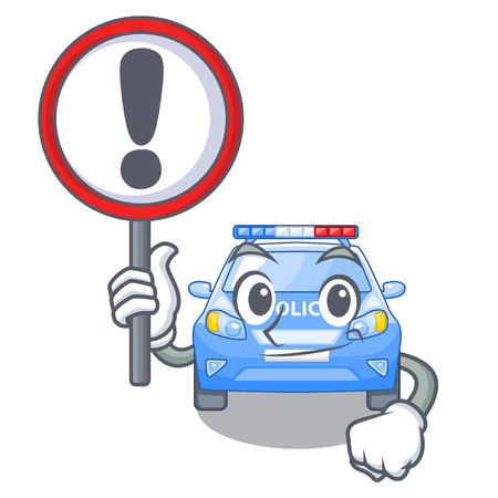 With sign police car on a cartoon roadside