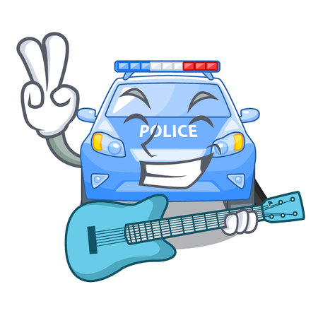 With guitar miniature cartoon police car on table vector illustration Illustration