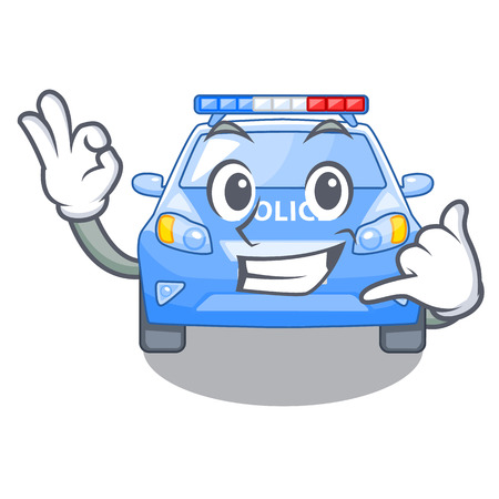 Call me car police isolated with in mascot vector illustration