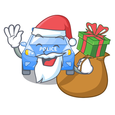 Santa with gift car police isolated with in mascot vector illustration
