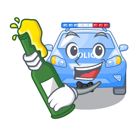 With beer car police isolated with in mascot vector illustration Illusztráció