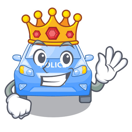 King car police isolated with in mascot vector illustration