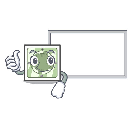Thumbs up with board power socket in the character shape vector illustration vector