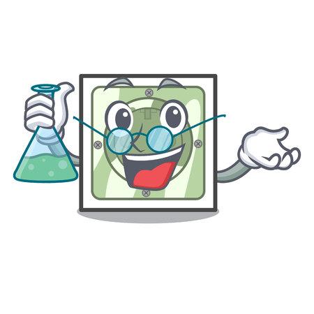Professor power socket attached the mascot wall vector illustration