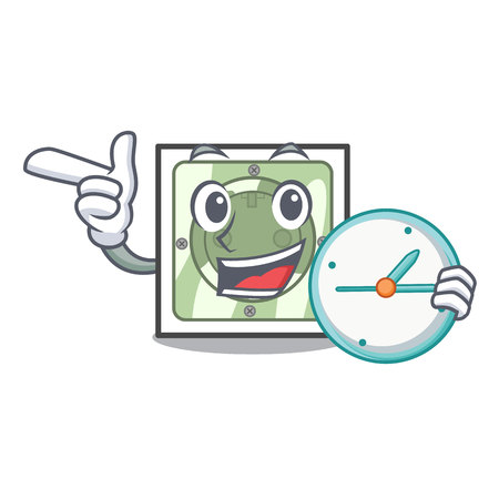 With clock power socket attached the mascot wall vector illustration
