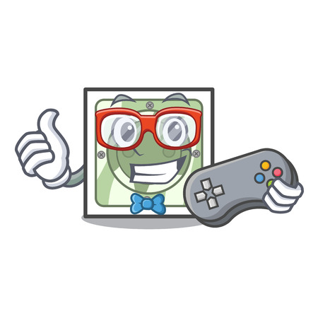 Gamer power socket on wooden cartoon table vector illustration Ilustração