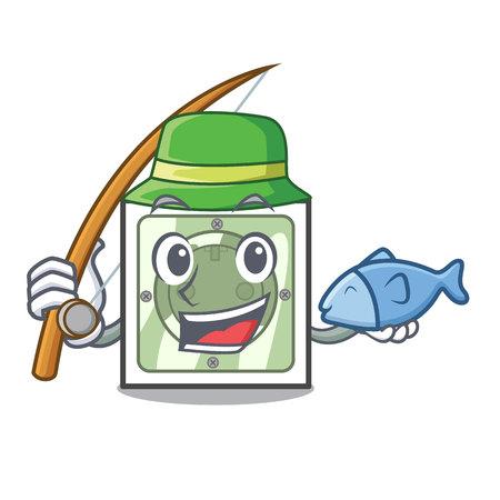 Fishing power socket on wooden cartoon table vector illustration