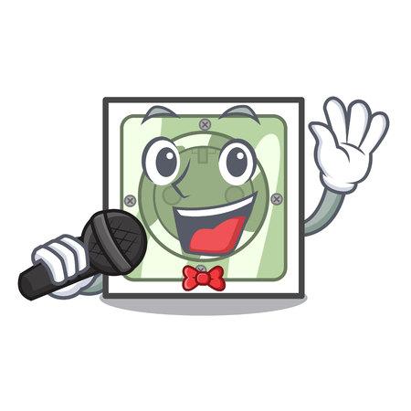 Singing power socket on wooden cartoon table vector illustration Ilustração