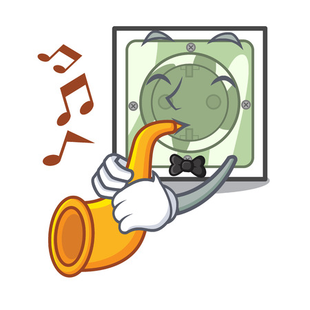 With trumpet power socket on wooden cartoon table vector illustration