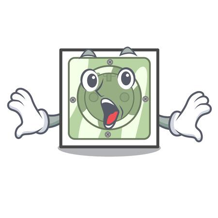 Surprised power socket on wooden cartoon table vector illustration Ilustração