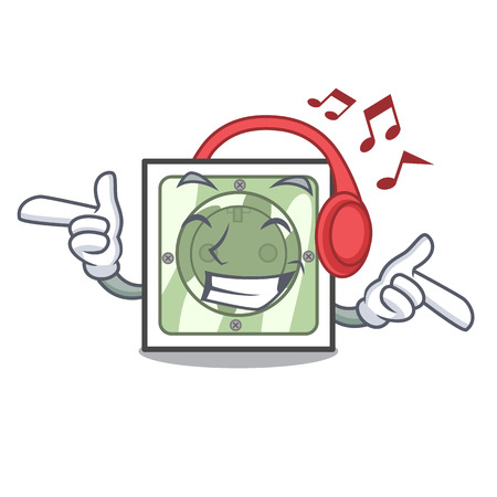 Listening music power socket on wooden cartoon table vector illustration Ilustração