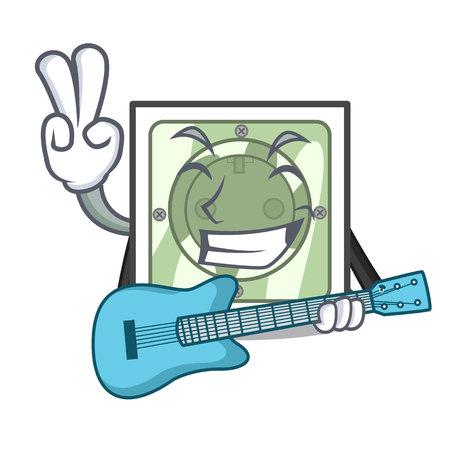 With guitar power socket on wooden cartoon table vector illustration Ilustração