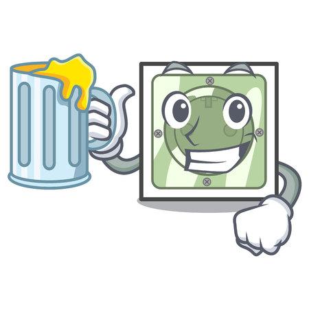 With juice power socket on wooden cartoon table vector illustration