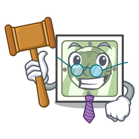 Judge power socket isolated with in mascot vector illustration