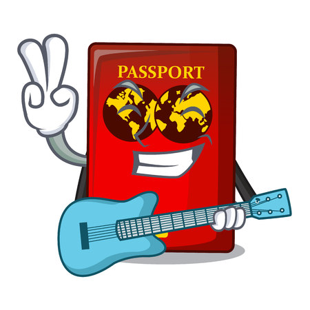 With guitar red passport on the mascot table Stock Illustratie