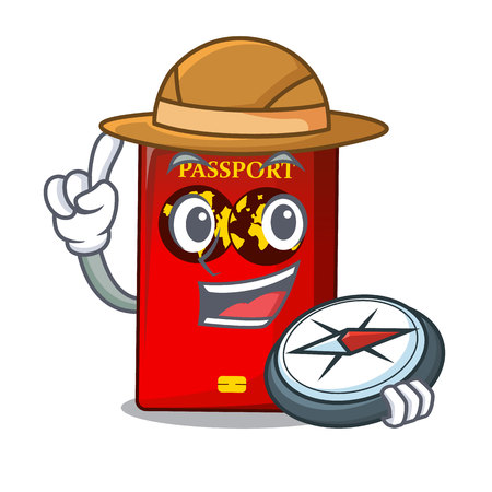 Explorer red passport on the mascot table Illustration