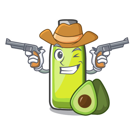 Cowboy bag avocado oil shape of mascot Illustration