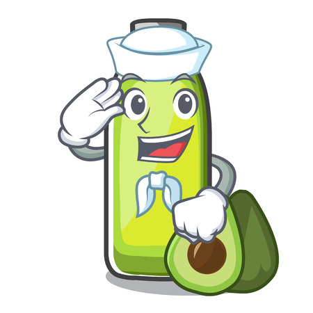 Sailor bag avocado oil shape of mascot vector illustration