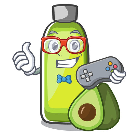 Gamer avocado oil in the bottol cartoons vector illustration