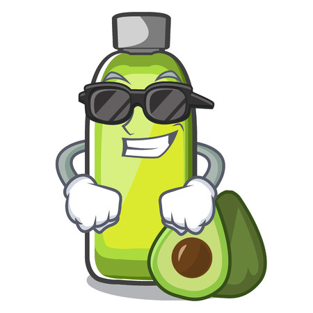 Super cool avocado oil on the character table vector illustration