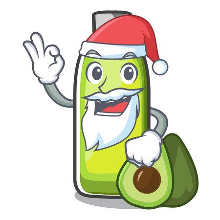 Santa avocado oil in a cartoon bowl vector illustration Çizim