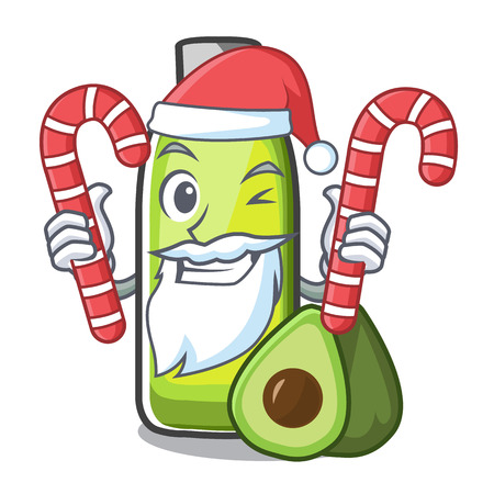 Santa with candy avocado oil in a cartoon bowl vector illustration Ilustrace