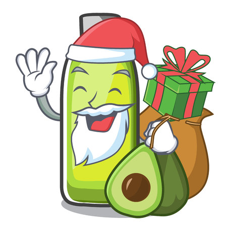 Santa with gift avocado oil in a cartoon bowl vector illustration Ilustrace