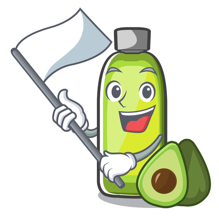 With flag avocado oil in a cartoon bowl vector illustration