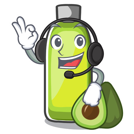 With headphone avocado oil in a cartoon bowl vector illustration