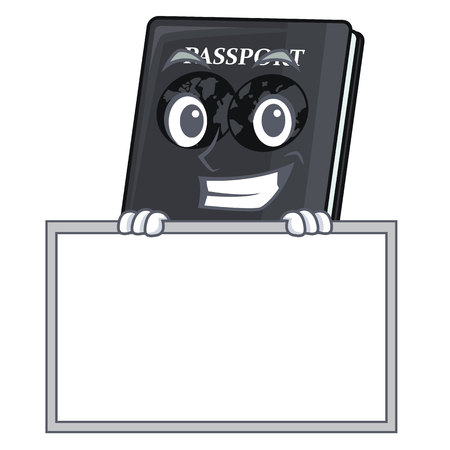 Grinning with board black passport in a cartoon bag vector illustration