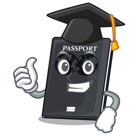 Graduation black passport in the shape character vector illustration