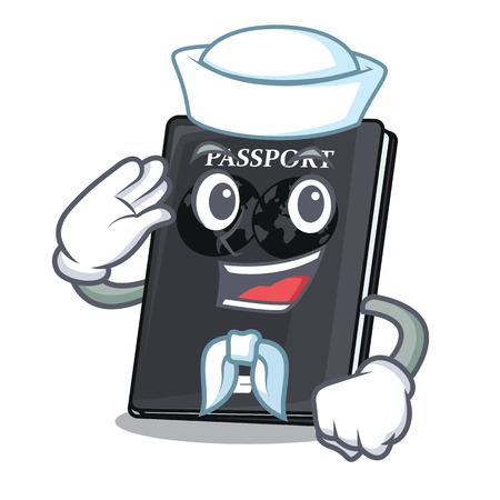 Sailor black passport in a cartoon bag vector illustration