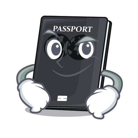 Smirking black passport in the shape character vector illustration Vettoriali